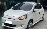 Selling White Mitsubishi Mirage 2013 at 40000 km